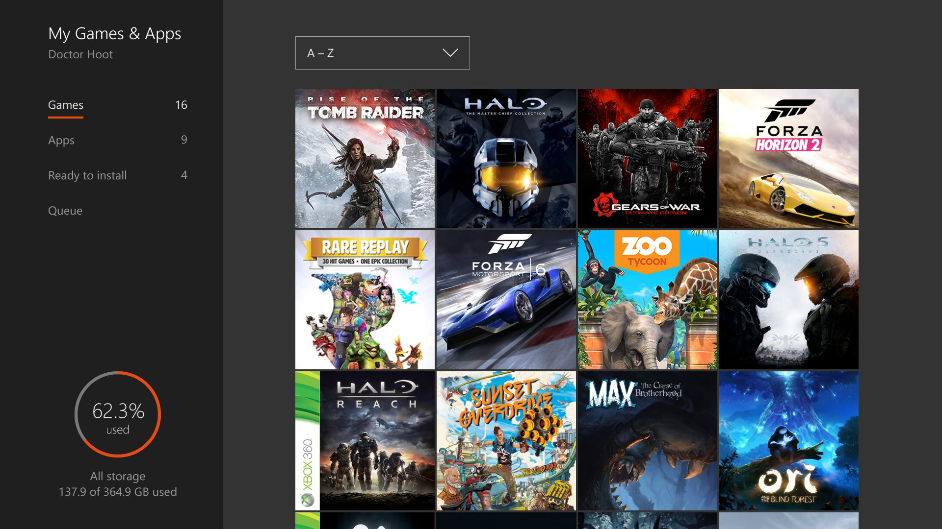 Ansicht der Spielesammlung auf der Xbox One