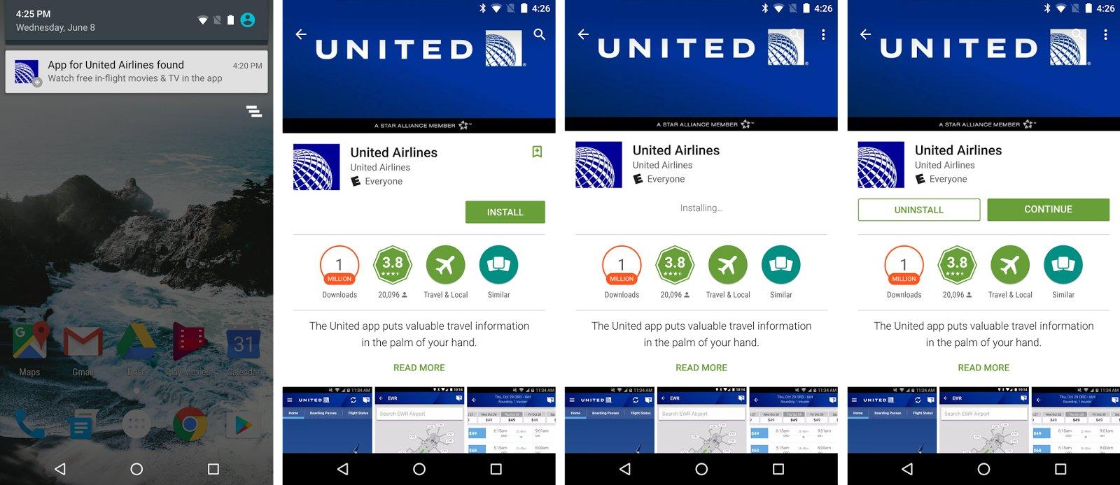 Beispiel für Vorschlag der App von United Airlines