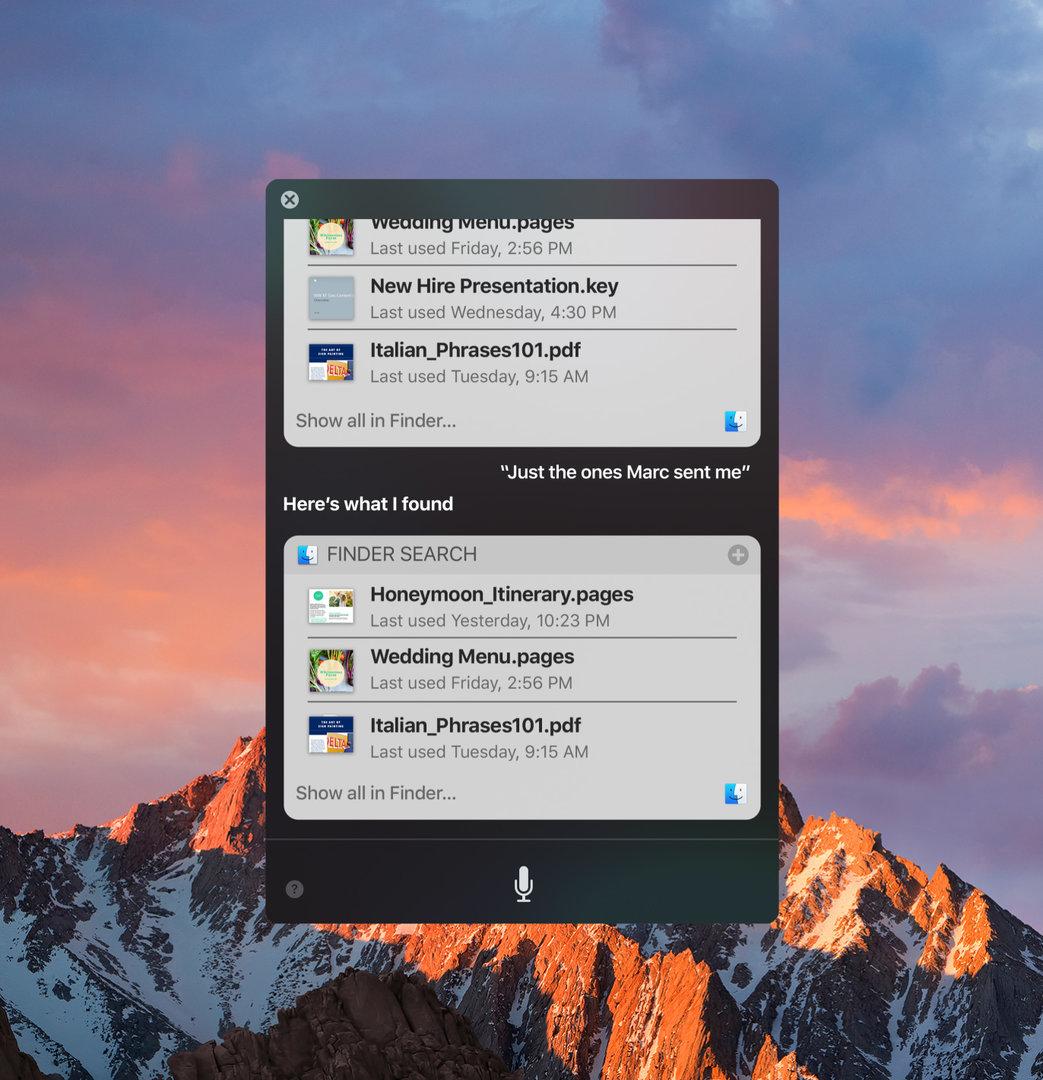 Suchergebnisse mit Siri in macOS Sierra
