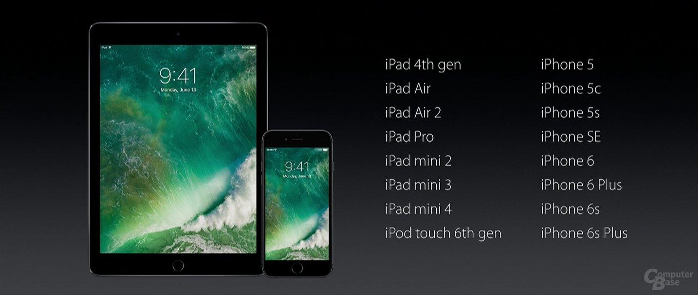 Kompatibilität von iOS 10