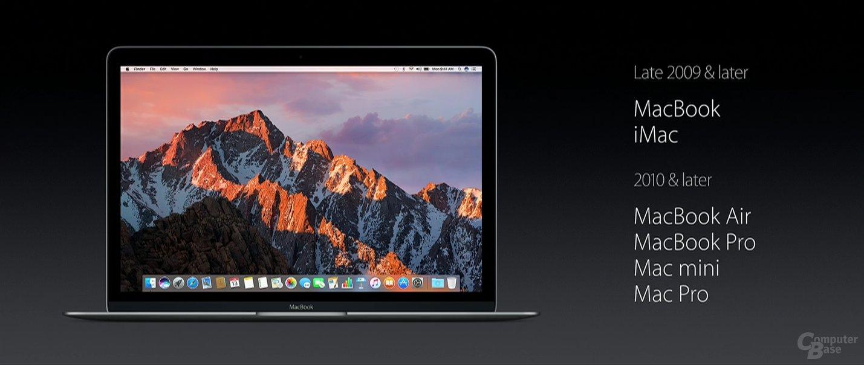 Kompatibilität von macOS Sierra