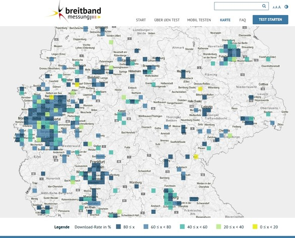 Kartenfunktion bei Breitbandmessungen.de