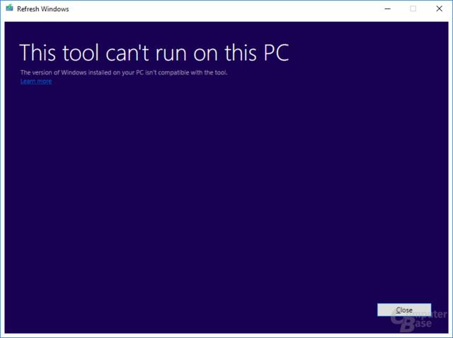 Fehlermeldung unter Windows 10 ohne Insider Program