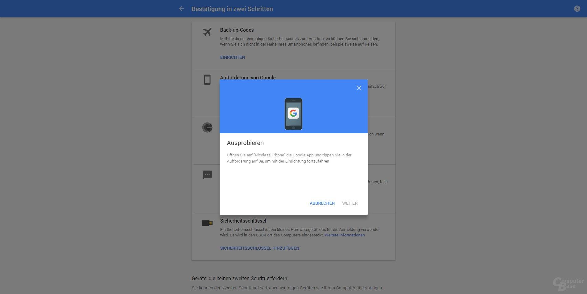 Aufforderung die Google App zu öffnen