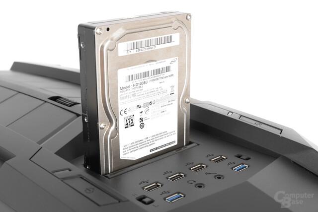 "Aerocool XPredator II – 3,5""-Festplatte im Slot eingesetzt"
