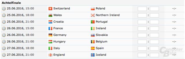 Die Spiele im Achtelfinale der EM 2016