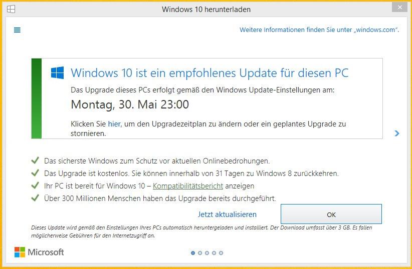 Hinweis zum geplanten Upgrade auf Windows 10
