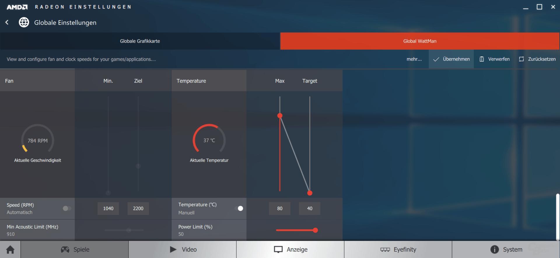 AMD WattMan: Temperatureinstellungen