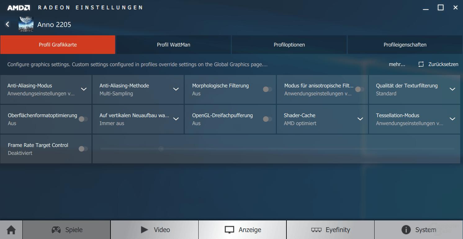 AMD WattMan in einzelnen Spieleprofilen