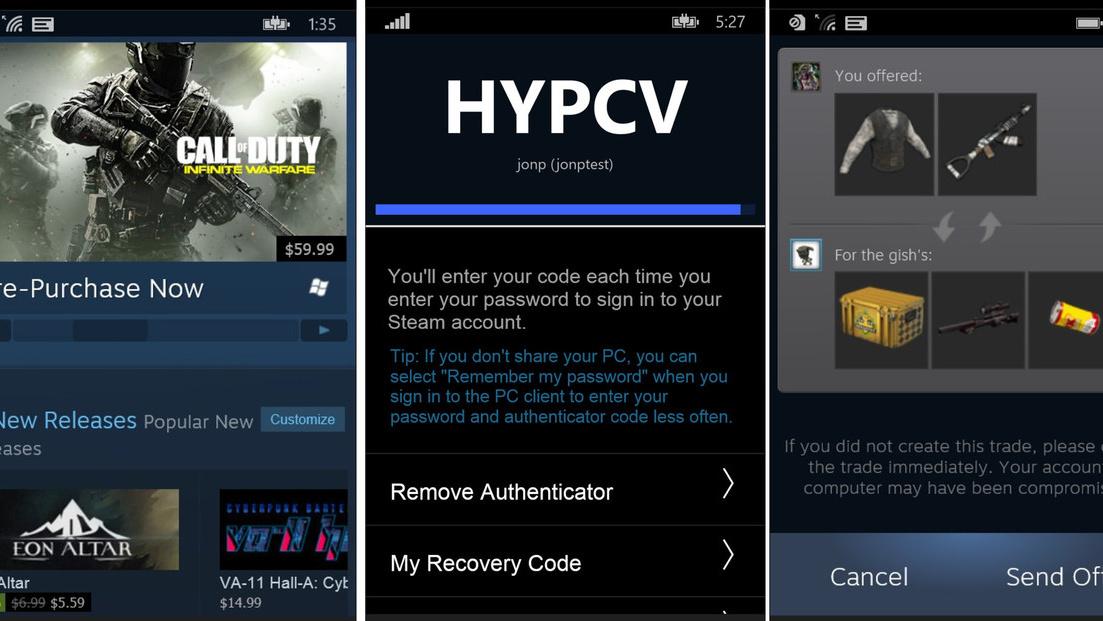 Steam-App: Erste Version für Windows 10 Mobile und Windows Phone