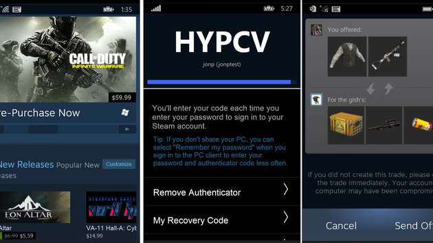 Steam-App: Erste Version für Windows 10 Mobile und Windows Phone