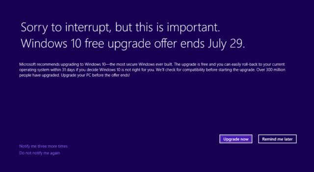 Windows 10: Upgrade-Hinweis jetzt auch im Vollbild