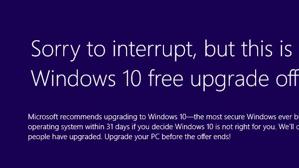 Windows 10: Für einige gibt es den Upgrade-Hinweis im Vollbild