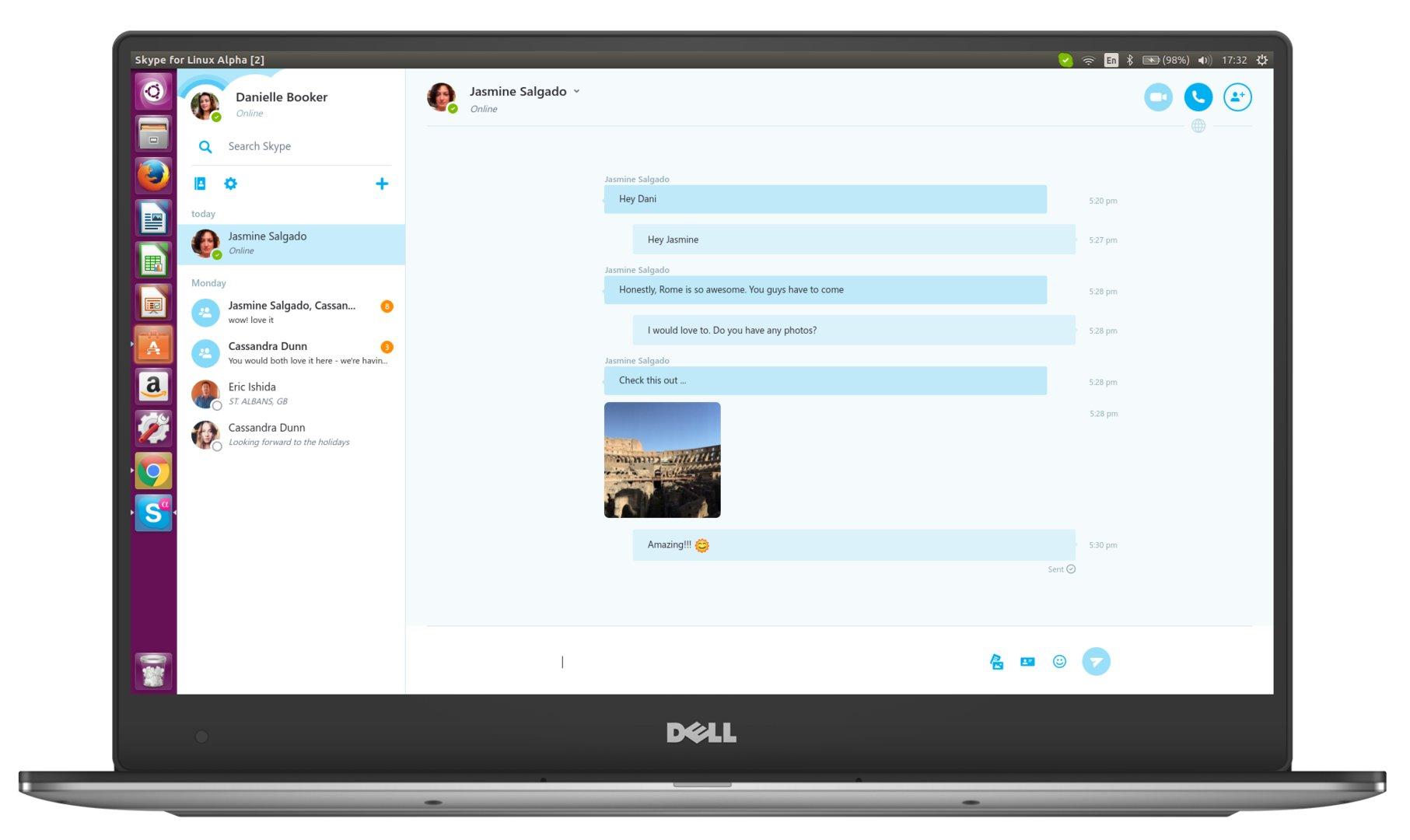 Chatfenster der Alpha-Version des neuen Skype-Clients für Linux