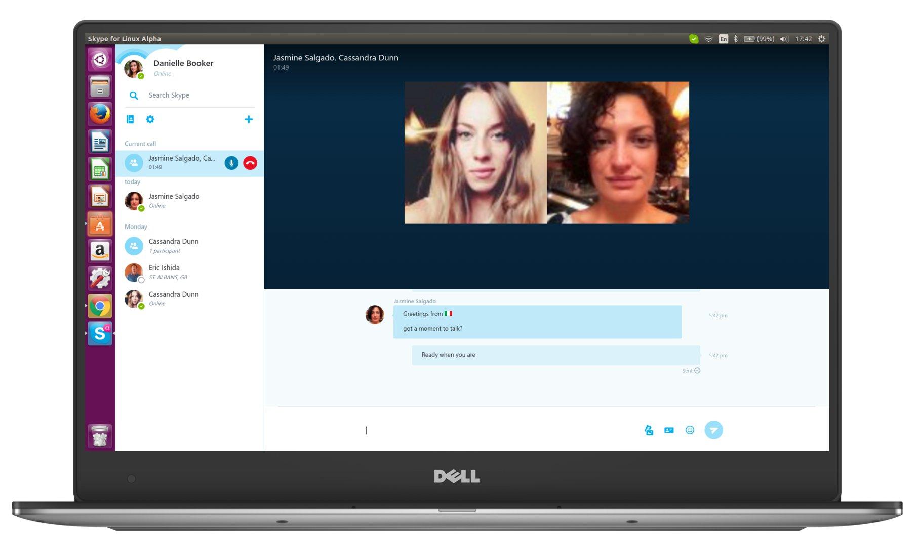 Anruf-Fenster der Alpha-Version des neuen Skype-Clients für Linux