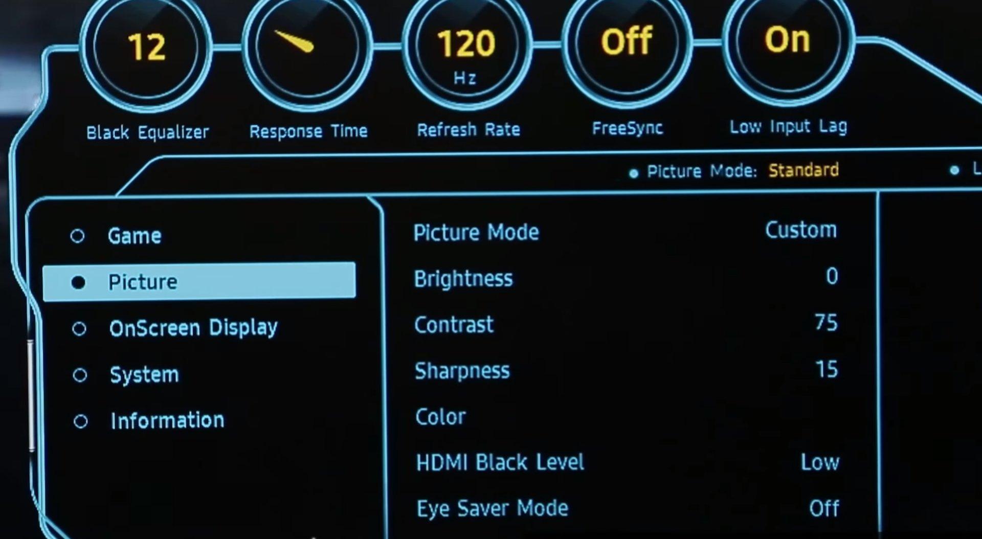 Samsung CFG70: Display-Menü