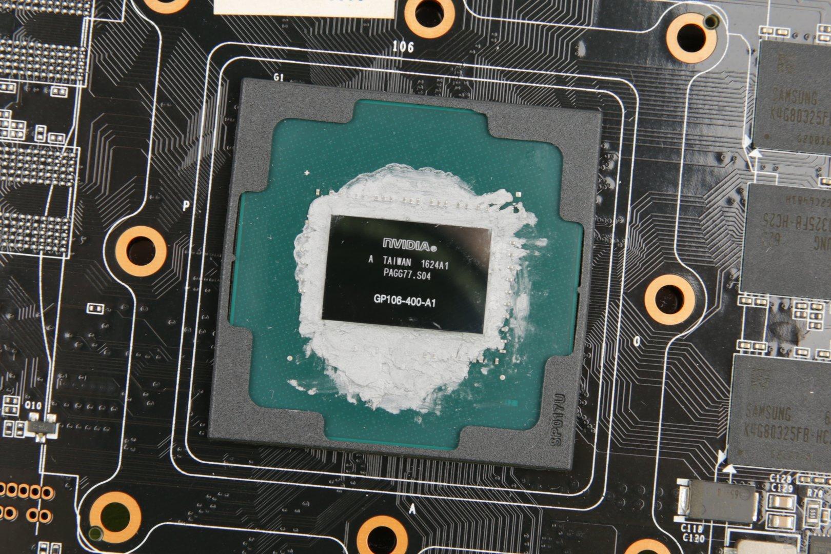 Der kleine GP106 auf der GeForce GTX 1060 von Palit