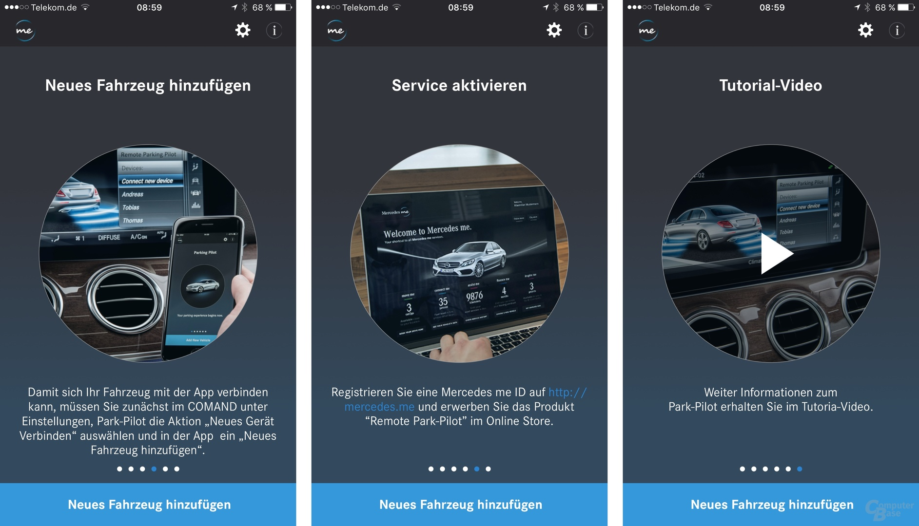 Erststart der Remote Park-Pilot App