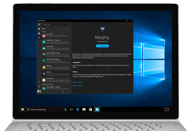 "Skype UWP-App mit Chatbot ""Murphy"""