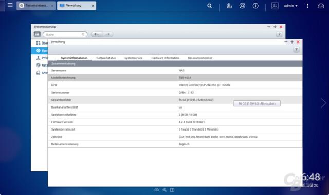 16 GByte RAM auf dem TBS-453A
