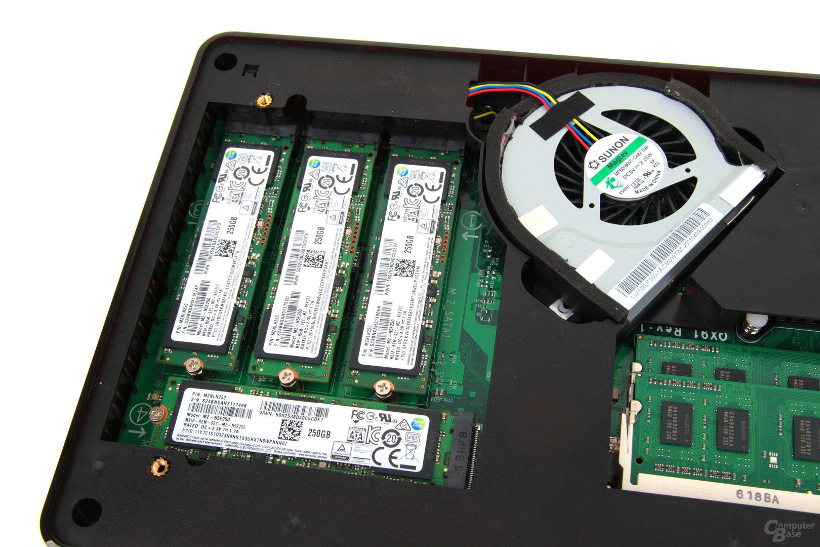 QNAP TBS-453A – Der Lüfter sitzt zwischen SSDs und CPU