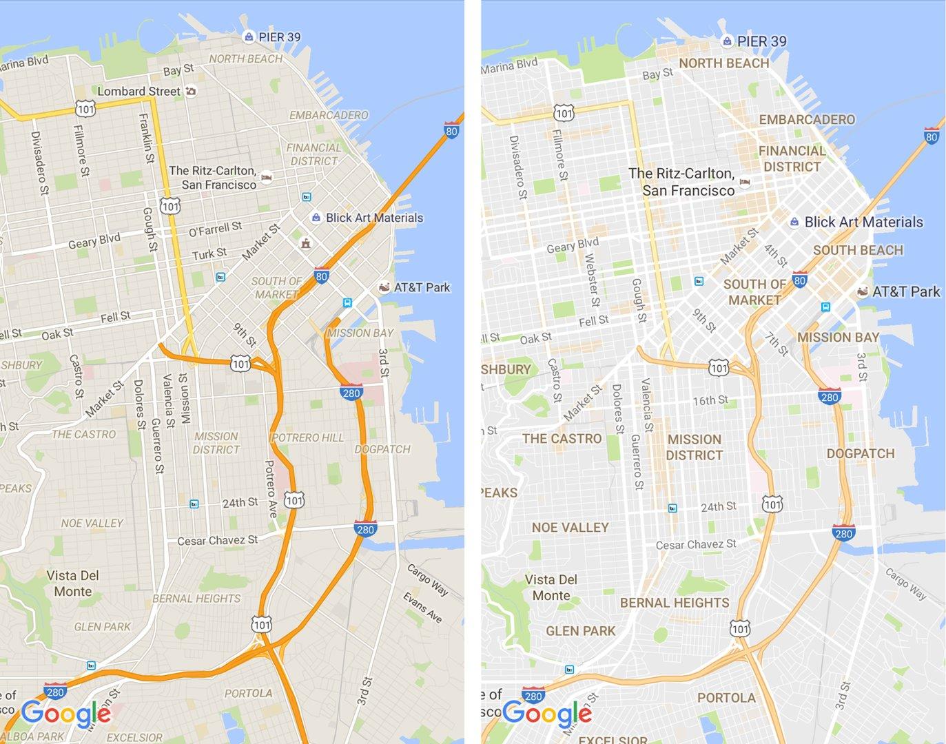 Altes und neues (links/rechts) Design