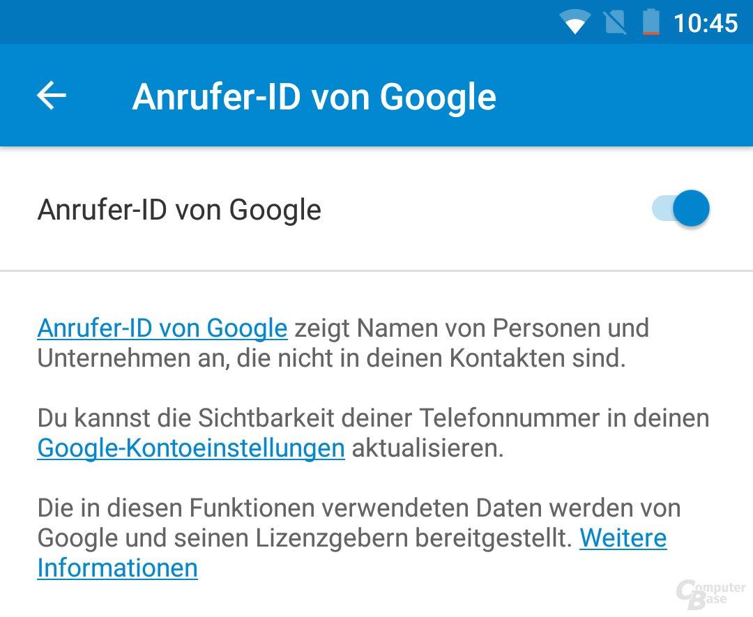 Anrufer-ID in den Telefon-App-Einstellungen