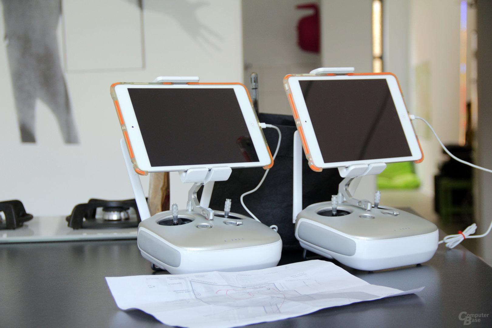 Zwei Controller mit iPad mini für die Bildübertragung