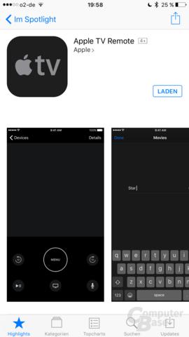 Neue Remote-App für den Apple TV