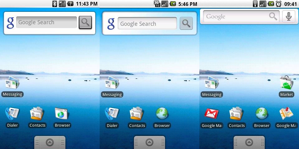 Homescreens zu Zeiten von Android 1.x