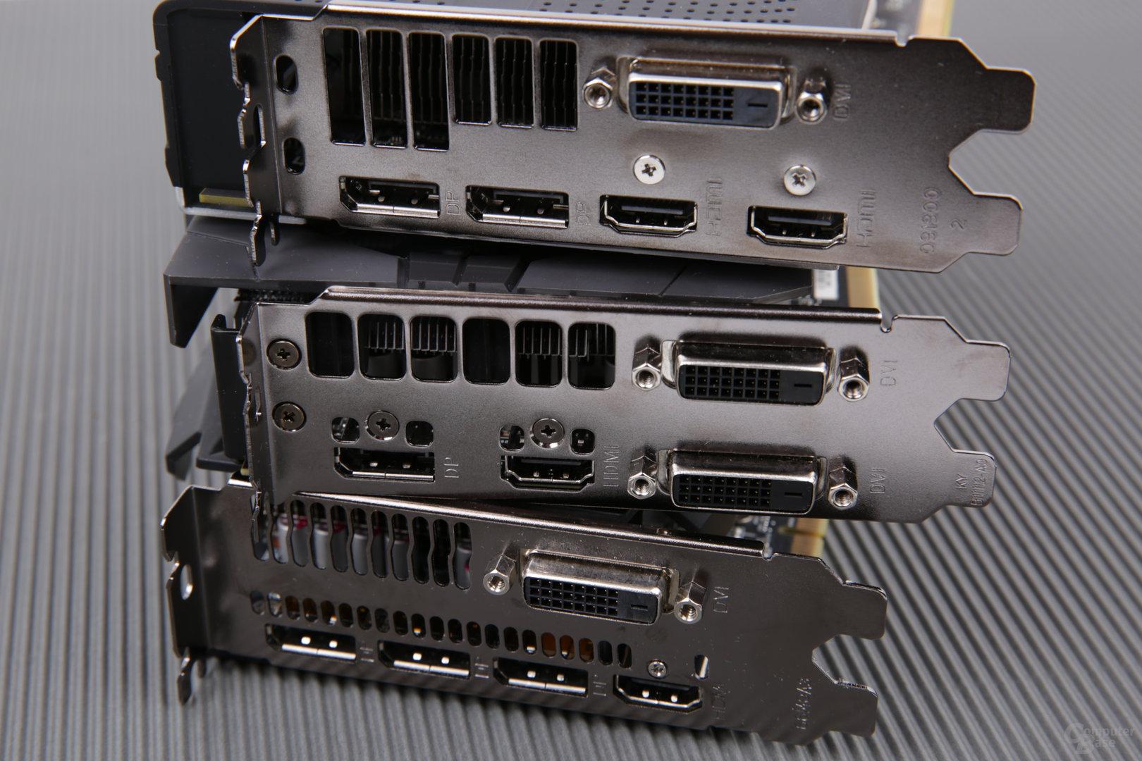 Monitoranschlüsse von Sapphire, Asus und PowerColor (von oben)