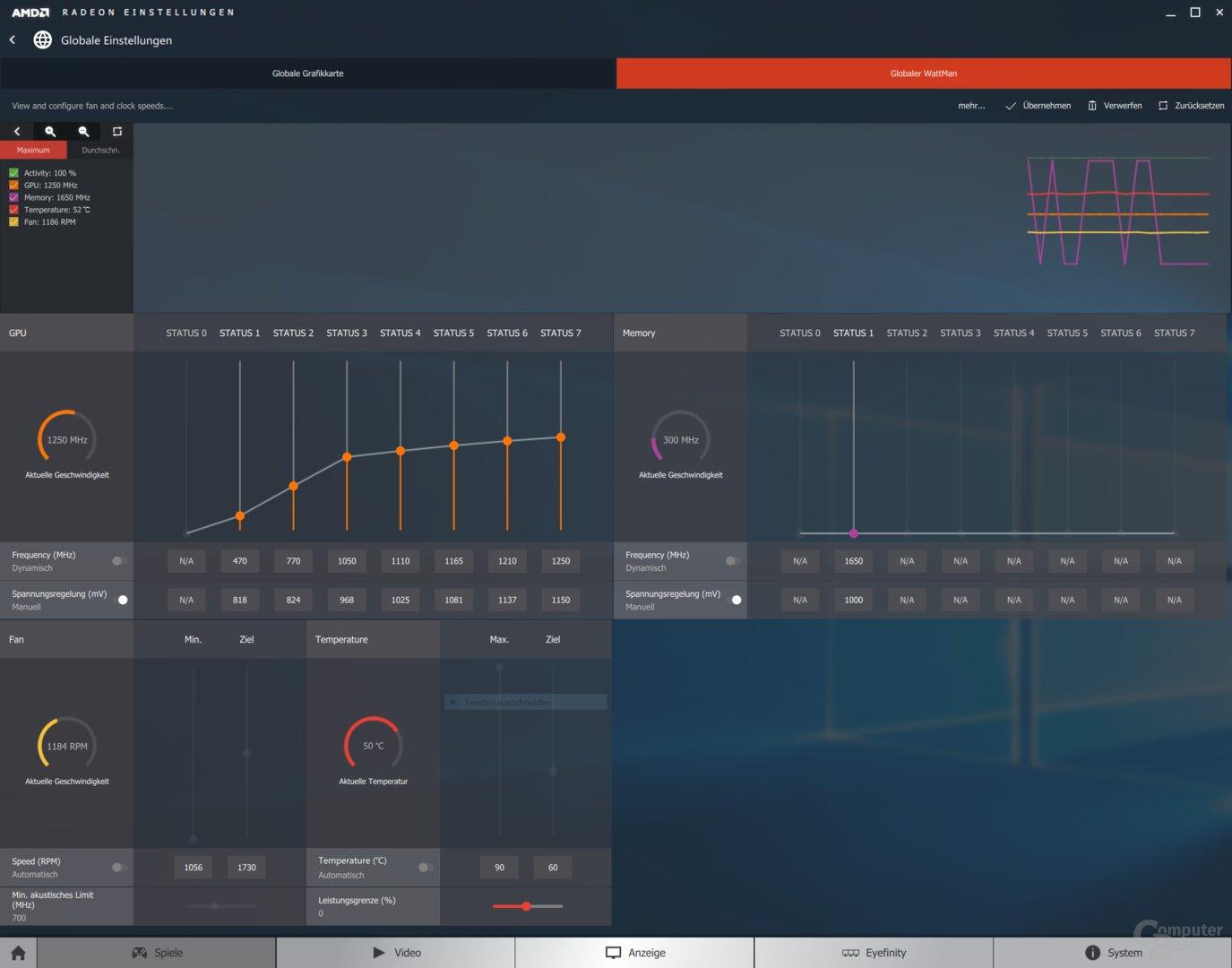 Asus RX 470 Strix – WattMan im Gaming-Mode