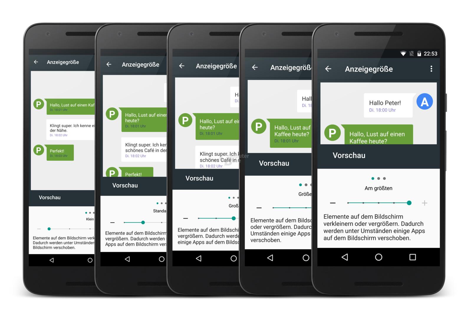 Die fünf Anzeigegrößen am Beispiel Nexus 5X