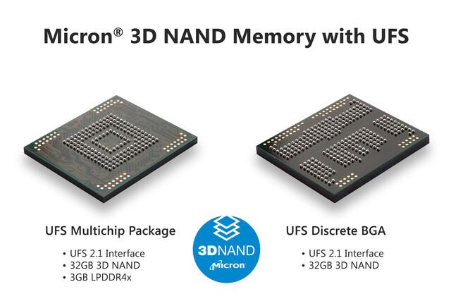 32 GB Micron 3D-NAND mit UFS-2.1-Interface als BGA (rechts) und als MCP inklusive 3 GB LPDDR4x (links)