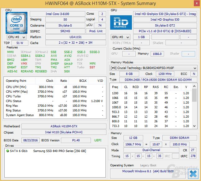 Core i3-6100 im ASRock DeskMini 110