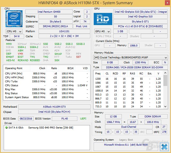 Pentium G4400 im ASRock DeskMini 110