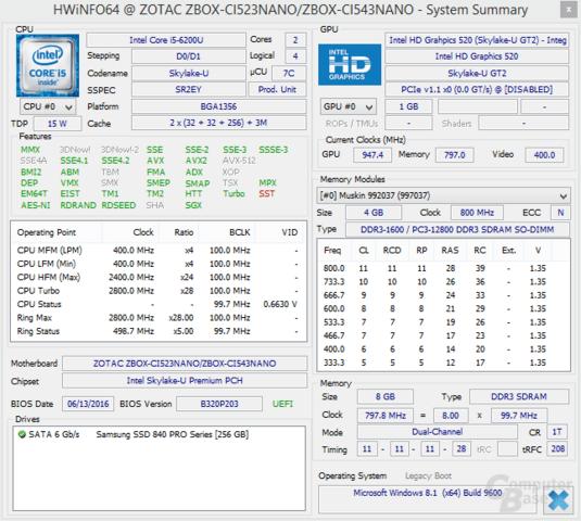 Hardware-Informationen der Zotac Zbox nano CI543