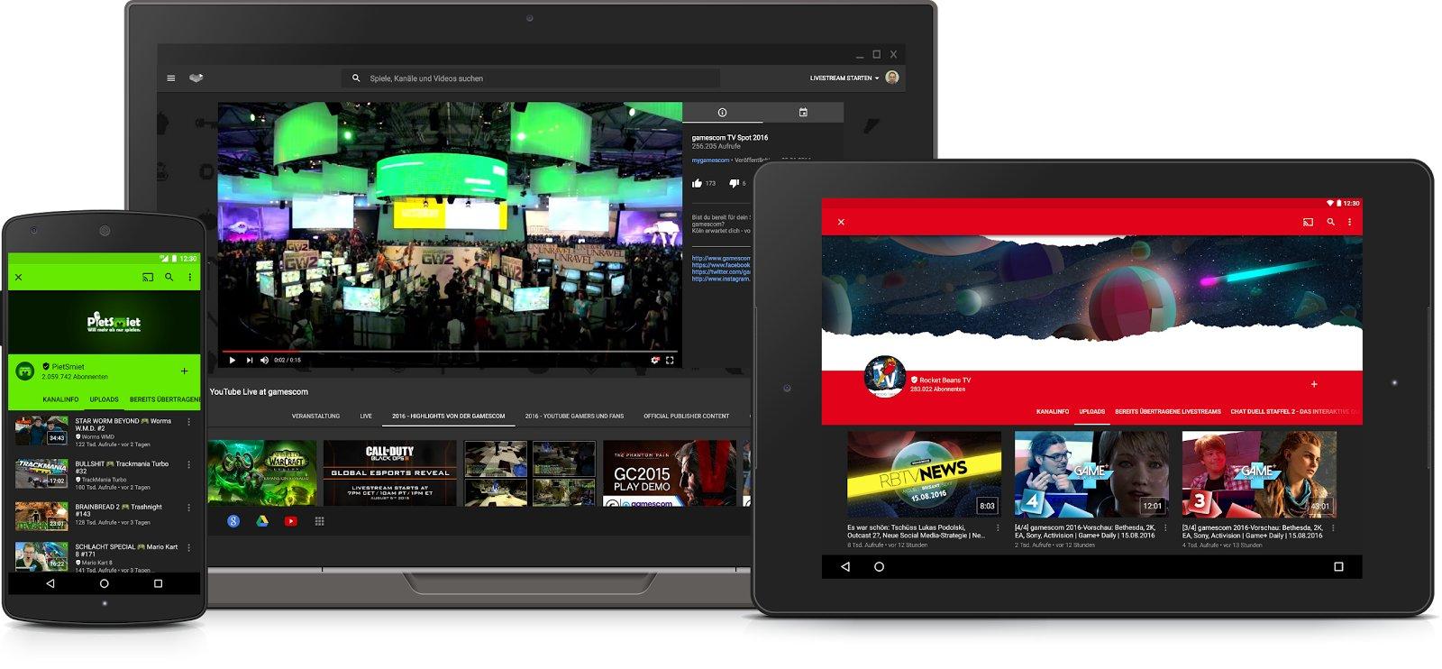 YouTube Gaming auf Smartphone, Notebook und Tablet