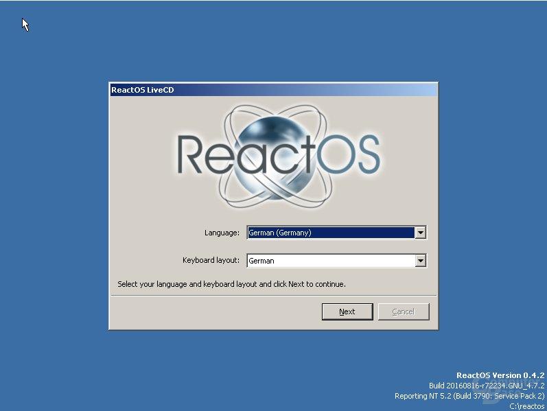 ReactOS Sprachauswahl
