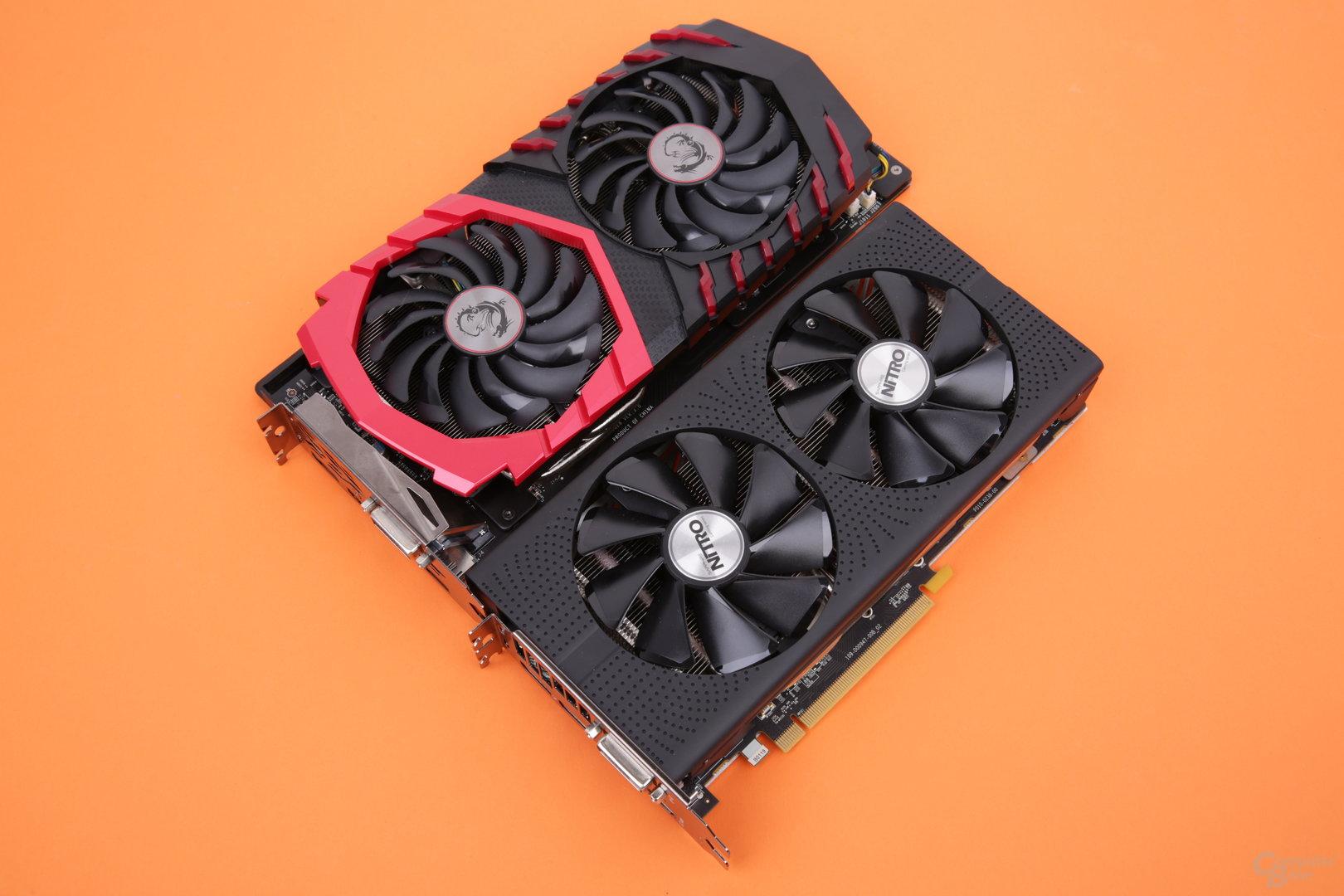 Sapphire Radeon RX 480 Nitro+ OC (unten) und MSI GeForce GTX 1060 Gaming X