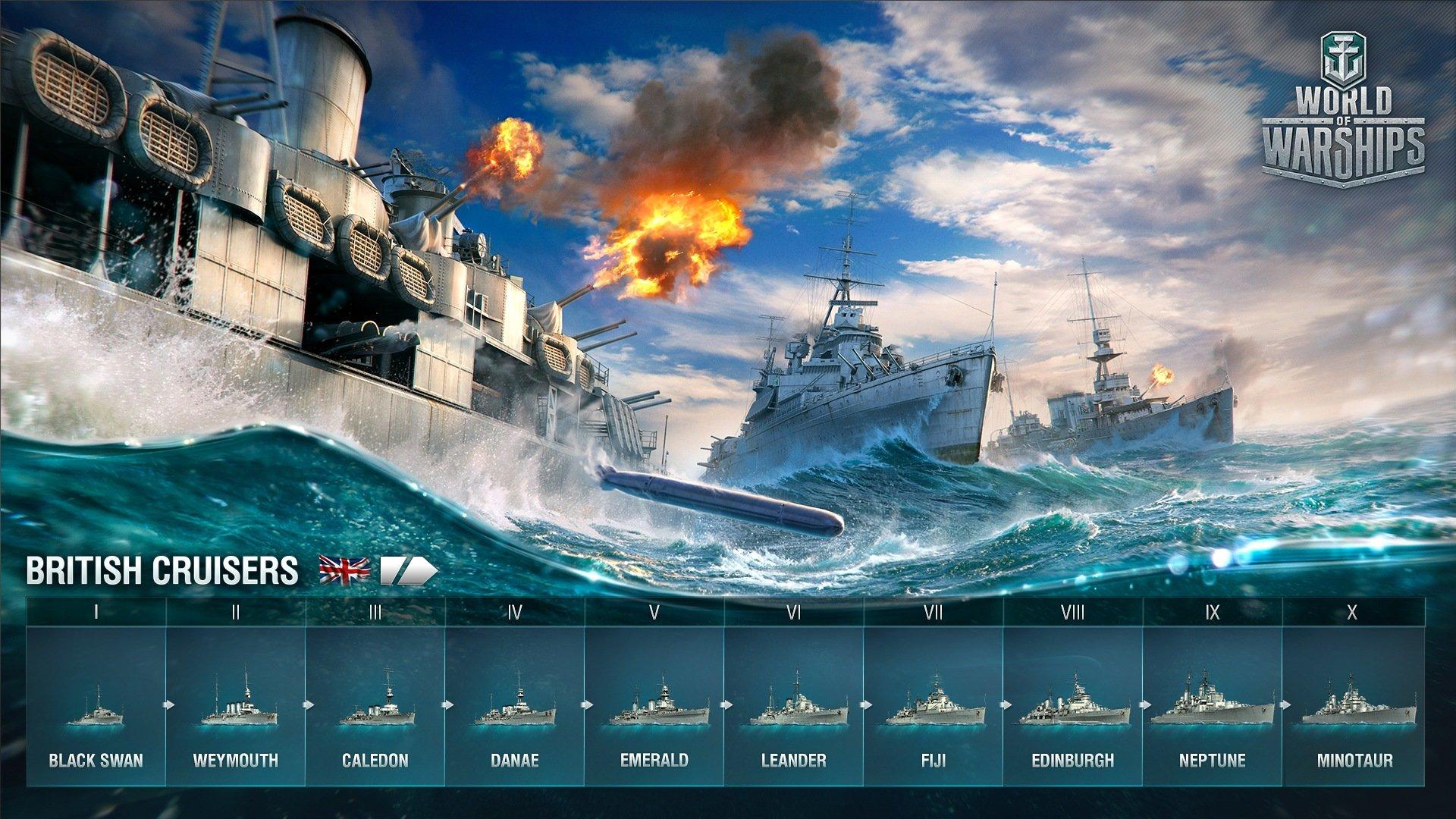 World of Warships – Britische Kreuzer im Entwicklungsbaum