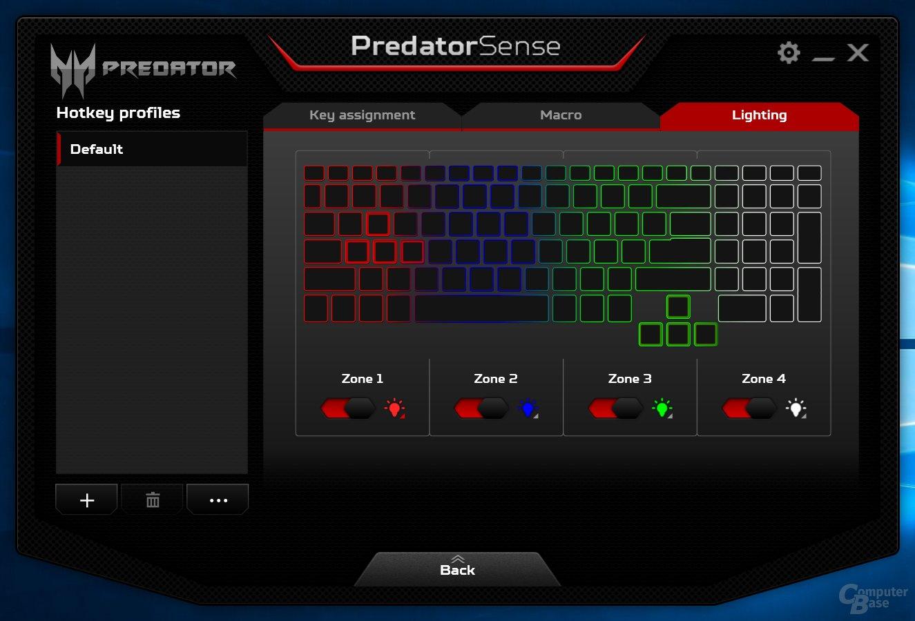 Acer Predator Sense – RGB-Beleuchtung in vier Zonen