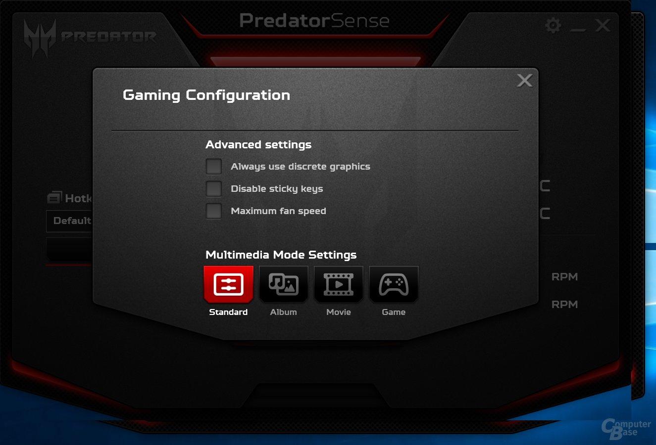 Acer Predator Sense – Einstellungen