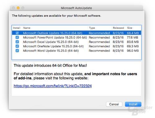 AutoUpdate mit Version 15.25 der Office-Apps