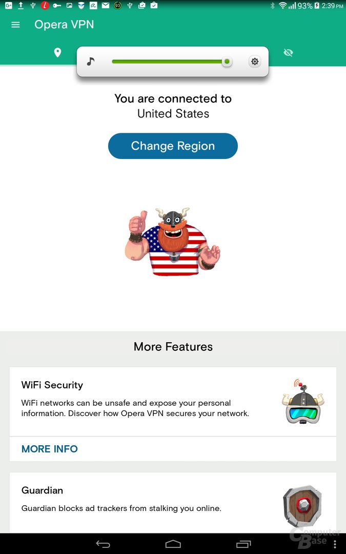 Verbindung mit US-Server hergestellt