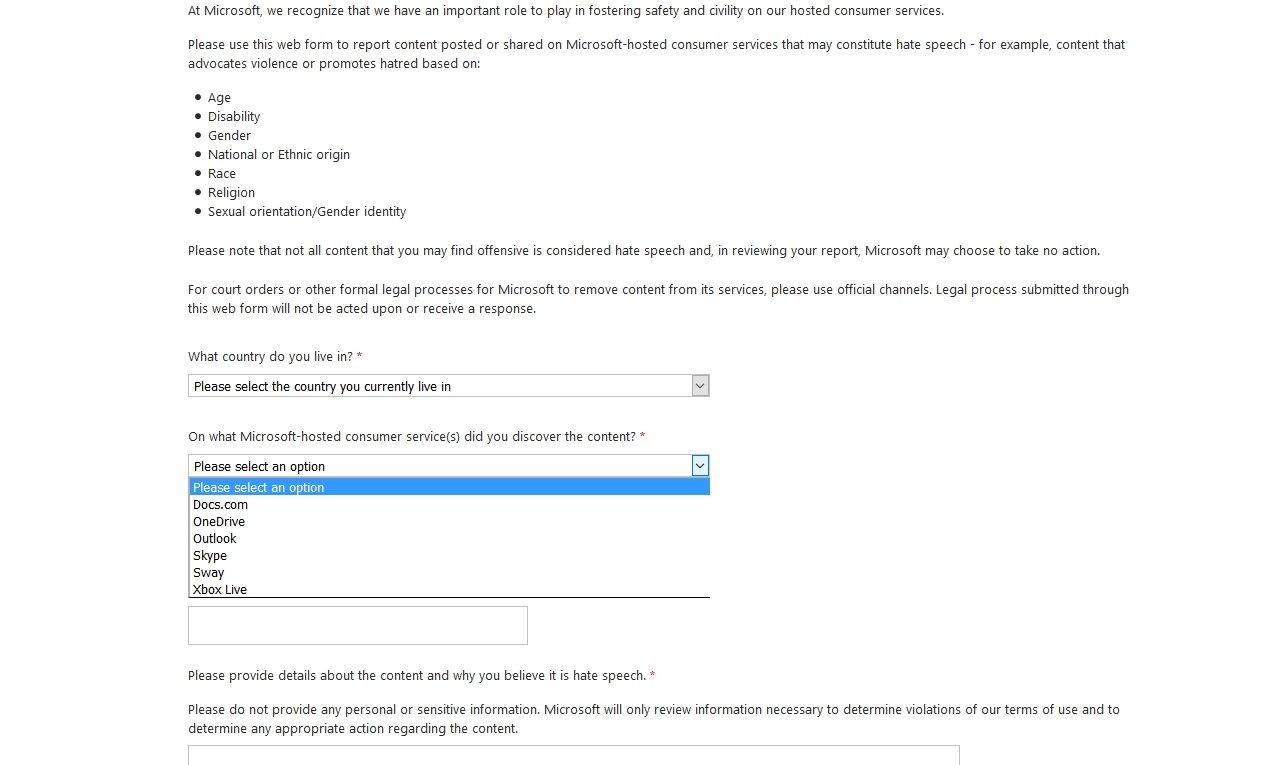 Microsofts Meldestelle für Hasskommentare