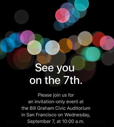 Apple-Einladung für den 7. September