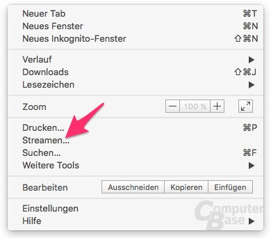 Google-Cast-Funktion in Chrome