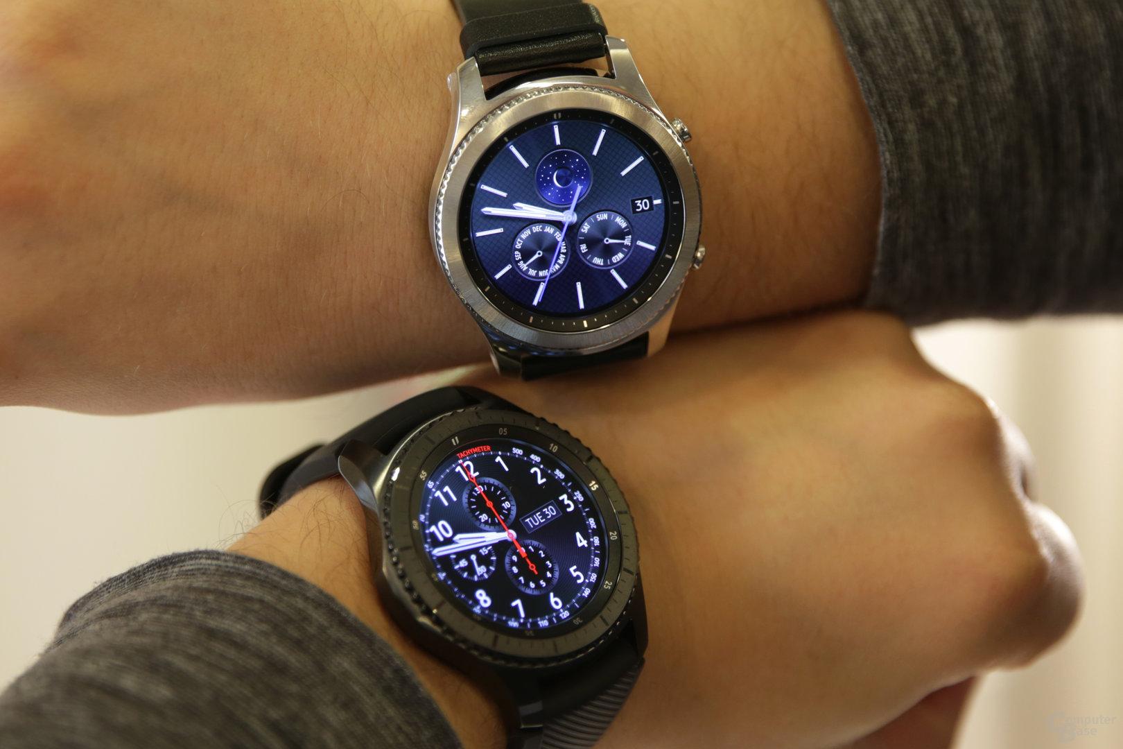 Samsung Gear S3 Classic (oben) und Frontier