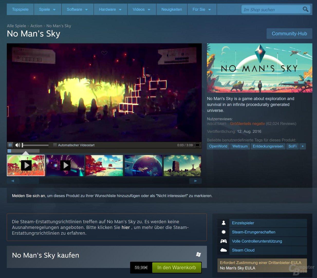 Steam weist nun offen auf die Rückgabebedingungen hin